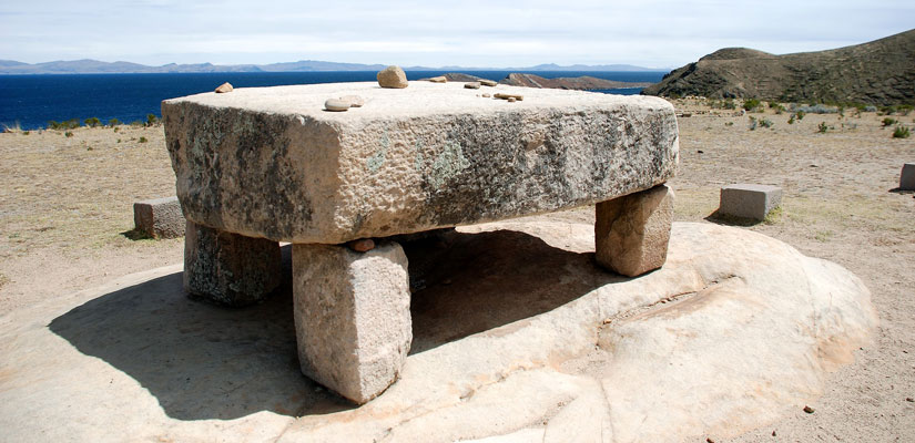 stone table inca island of the sun lake titicaca