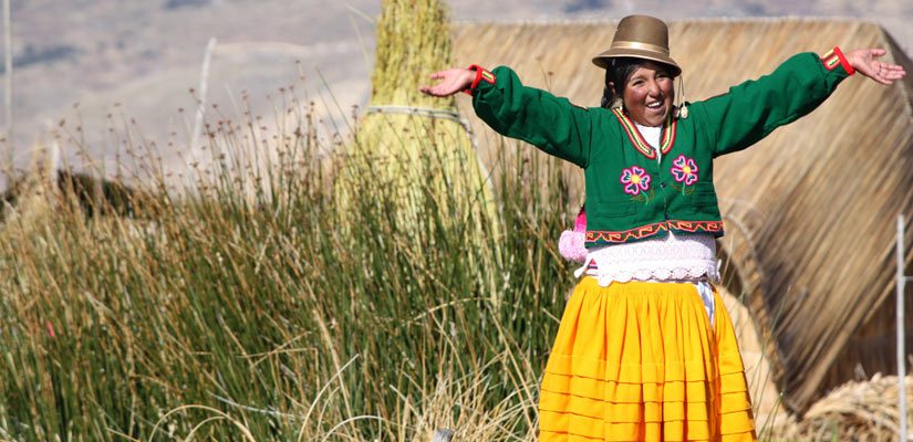 girl with typical dress lake titicaca