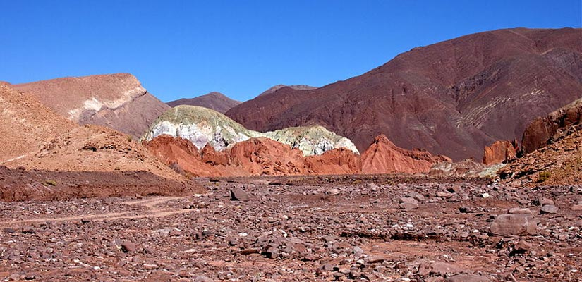 multicolored mountains in atacama rainbow valley