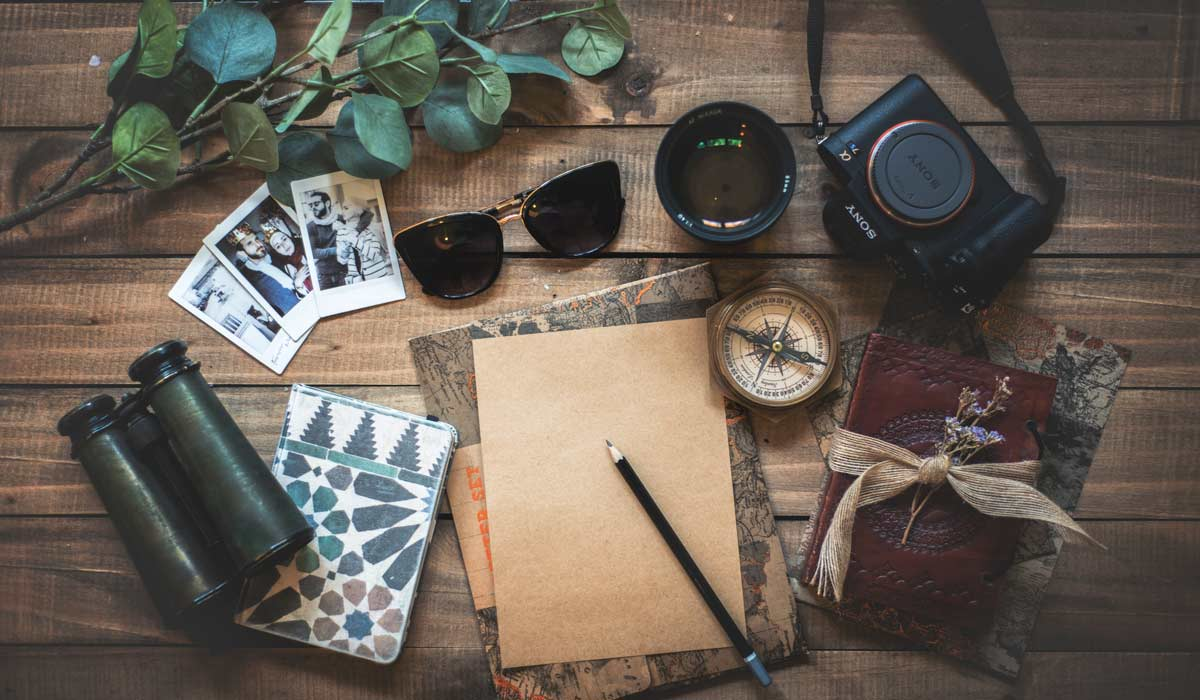 table with memories to collect from travels