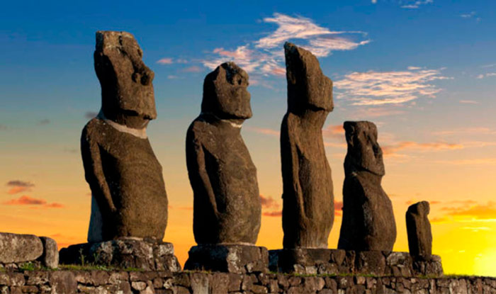 Close-up of the moais at sunset in Easter Island
