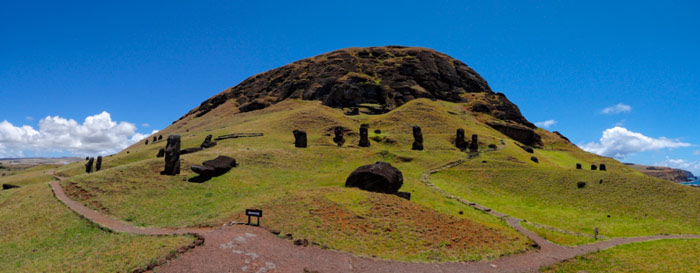 Panoramic view of moais on Easter Island