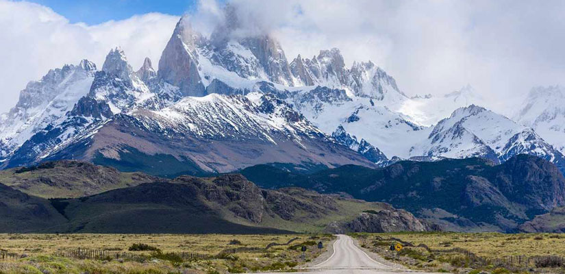 road with views of snow-capped Mount Fitz Roy