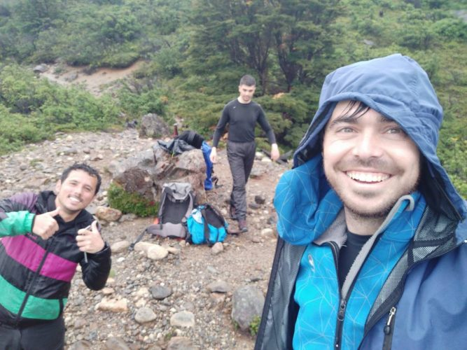 Hikers on W Trek in rainy Chilean Patagonia Howlanders