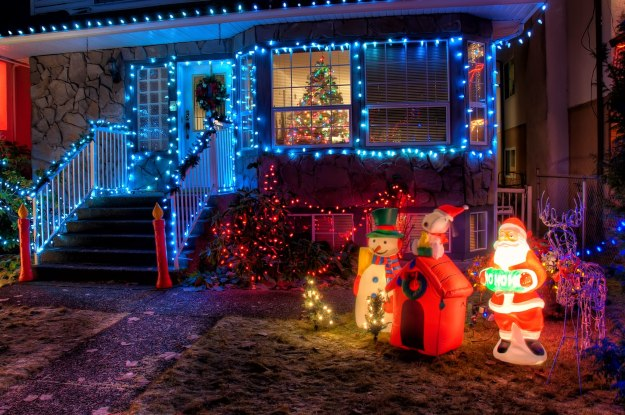Christmas lights in american house