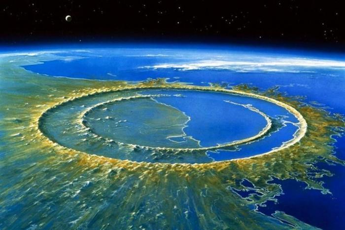 Image of the earth and the impact of the meteorite that extinguished the dinosaurs from outer space