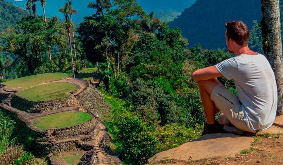 Person watching Lost City landscape