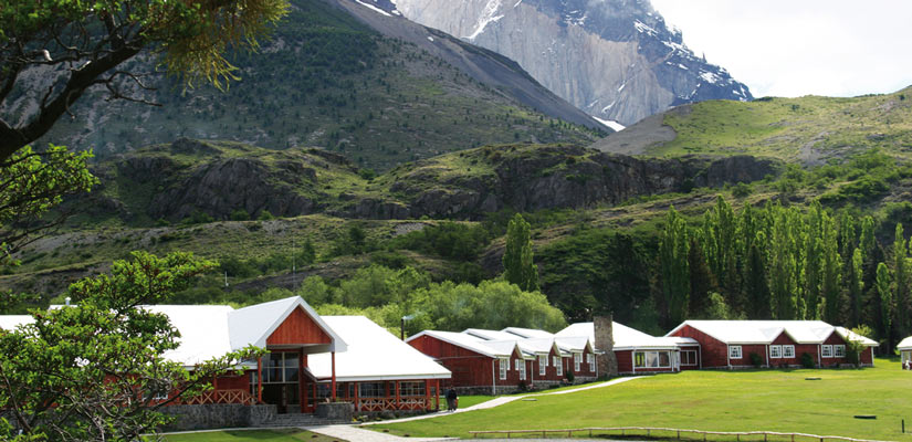 shelter torres paine with mountain in the back