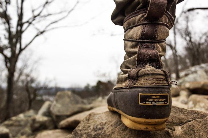 Close-up of a trekking boot in the wilderness