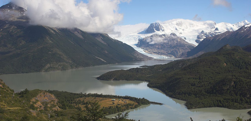 lake dickson are snow-capped mountain in the background