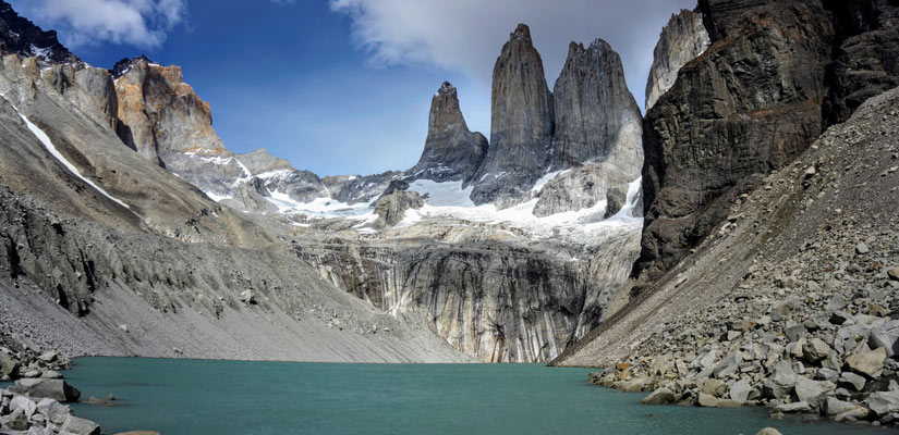 torres del paine lake with the towers in the background