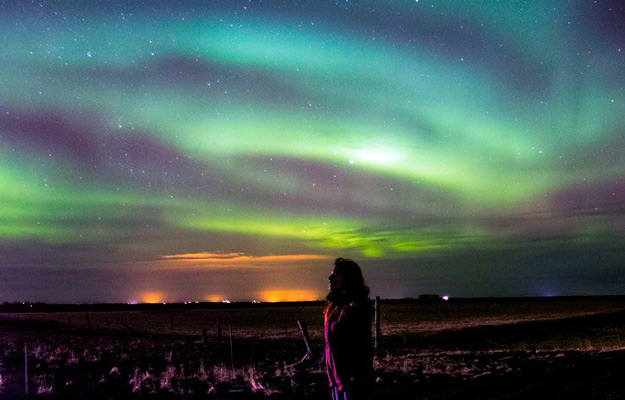 Northern lights in South Iceland