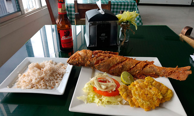 Fried Snapper and Coconut Rice