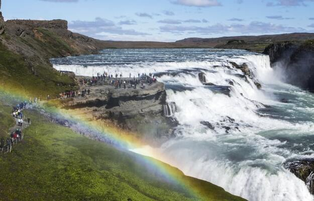 views of Gullfos Waterfall in Iceland