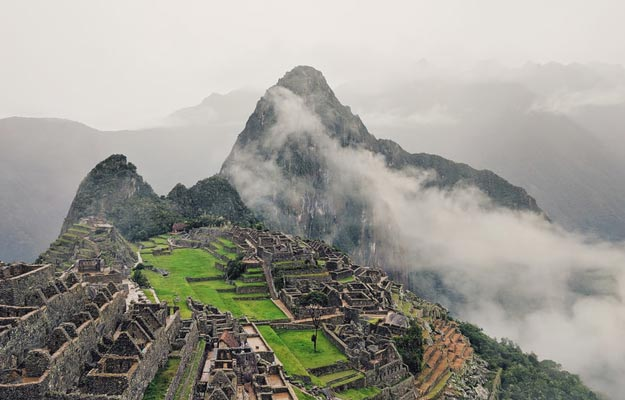 arial view of old machu picchu